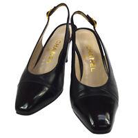Authentic CHANEL CC Logos Pumps Shoes Black Leather Vintage #36 C NR13083