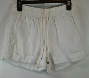 J Crew Womens Shorts Size XS White Linen Elastic Waist Pullon Pocket Flaps Lined