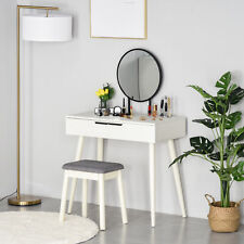 HOMCOM Dressing Table Vanity Set Make Up Desk with Round Mirror & Stool White