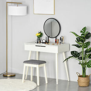 HOMCOM Dressing Table Vanity Set Make Up Desk with Round Mirror & Stool White