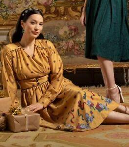 Size 14 LINDY BOP Kara Mustard Kittens Christmas Vintage Style Dress 50s 60s