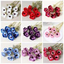 10pcs Artificial Anemone Silk Flowers Bouquet Wedding Bridal Bouquet Home Decor