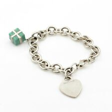 CLASSIC TIFFANY & CO STERLING HEART TAG AND PRESENT CHARM LINK BRACELET- #539-6