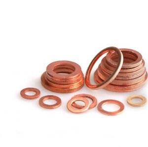 ID=3-50mm All Size Solid Copper Flat Washers Gasket Metal Sealing Ring Pads Shim