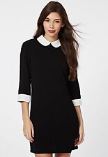 Womens 3/4* Sleeve Black Collar Shift Block Monochrome Peter Pan Collar Dress