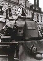 WWII B&W Photo French Child on Tank  World War Two WW2 World War Two France 1270