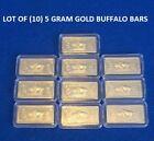 Lot of 10- 5 GRAM GOLD BUFFALO BULLION BARS 100 MILLLS .999 FINE 24K BULLION BAR