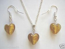 Gold silver foil glass heart bead pendant 18 inch chain necklace & earrings set