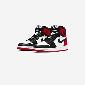 New Women's Jordan 1 Retro High Satin Black Toe Sz 6W/4.5M -10W/8.5M CD0461-016