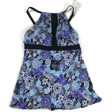 A Shore Fit Womens Size 18W Swimdress High Neck Floral Multi-Color