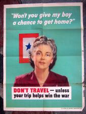 "1944 Jerome Rozen WW II Poster "" Don't Travel """