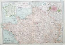 Map of Northern France. 1902. Paris. NORMANDY. BRITTANY Original