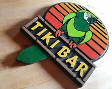 Tiki Bar Green Parrot 3D routed wood sign Island Beach pool Tiki Custom