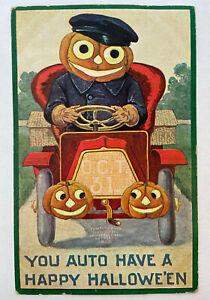 Vintage Halloween Postcard 1908 Ford Model T Anthropomorphic Jack-O-Lantern