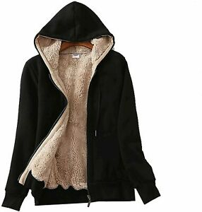 PEHMEA Women's Full Zip Fleece Hoodie Warm Sherpa Lined, Black, Size Large QuLo