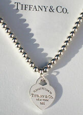 Tiffany & Co Return To Tiffany Heart Tag 4mm Bead Sterling Silver Necklace