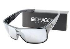 NEW Genuine DRAGON HEX Shiny Black Silver Ionized  Lens Men Sunglasses DR 009