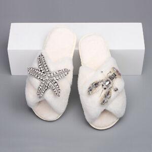 Fluffy Slippers Cross Strap Starfish Lobster Decor Luxury Slippers Flat Women's