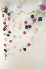 Pink Grey felt ball pom garland, nursery wall decor, bunting, baby girl decor