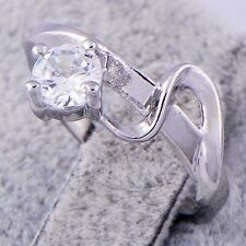 Posh Women White Gold Filled Clear Cubic Zirconia Band Ring Size 6 Free Shipping