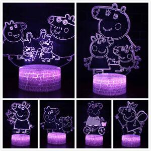 3D LED Pig Wutz Familie Tischlampe Nachtlicht Nachttischlampe Geburtstag Gift