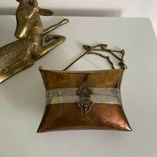 Vtg Vintage 20s 30s Copper Silver Metal Purse Velvet Lined Chain Detail Boho