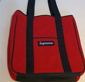 New and unopened FW18 Supreme Polartec tote bag red