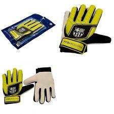 Barcelona Goalkeeper Gloves Boys Age 7-9 Years 100% FCB Fluo Goalie Gloves