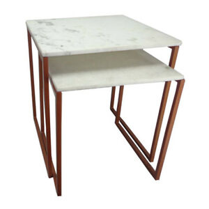 HIGH QUALITY Marble Top Set of 2 Nest of 2 Side Tables w Copper base metal frame
