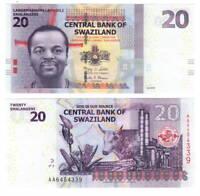 UNC eSwatini SWAZILAND Tyvek 20 Emalangeni (2010) P-37a AA Prefix