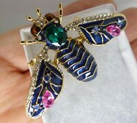 Art Deco vintage style bee insect brooch blue enamel pink rhinestone in gift box