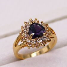 Charm Heart Shaped Purple Crystal ZN 18K Yellow Gold Plated Ring Size 7