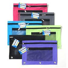 1 Pencil Zipper Pouch 3 Ring Binder Bag Pen Marker Storage Holder School Supply