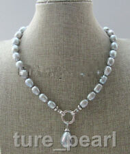 """18"""" 13mm gray baroque freshwater pearl necklace+ 20mm shell pearl pendant"""