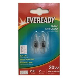 20x G4 20W Watt EVEREADY G4 DIMMABLE ECO HALOGEN LIGHT BULBS LAMPS CAPSULES UK