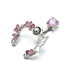 Charm Crystal Flower Belly Ring Navel Studs Surgical Steel Body Piercing Jewelry