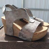Womens Wedge Sandals Platform Heel Pewter Vegan Leather Pierre Dumas