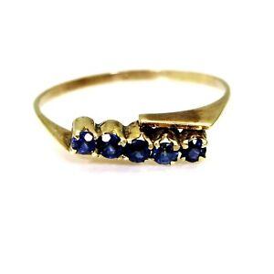 9ct 9k Gold Sapphire Half Eternity Ring Size 6 1/4 - M