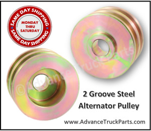 Alternator Pulley 2 Groove Steel Double GM Delco Ford Hot Rod 24-1101