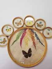 Patio Picnic Rving Vintage 7Pc Bamboo Butterfly Coaster Tray Set Outdoor Garden