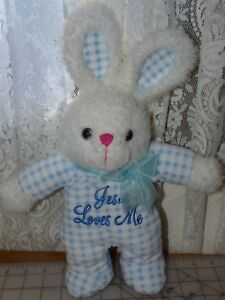 DanDee Blue/White Checked Bunny Plays Jesus Loves Me Plush Soft Toy Heart Nose