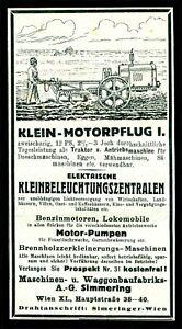 Alte Werbung 1922 Klein-Motorpflug  Maschinen-Waggonfabrik Simmering Wien