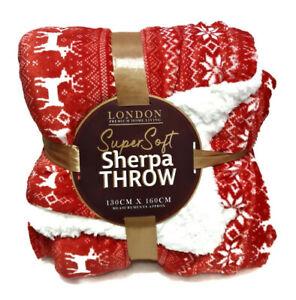 London-Super  Christmas Reindeer Soft Cosy Sherpa Throw 130cm × 160cm .