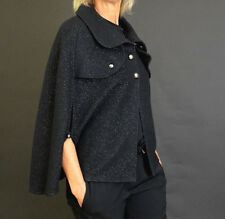 BURBERRY Black Wool/Cashmere Cape with Sparkle Detail, OS