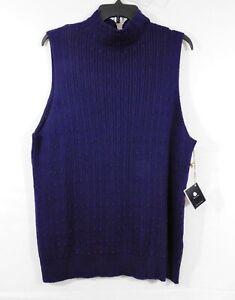 NWT Talbots Purple Sleeveless Cable Knit Sweater, Sz. 3X