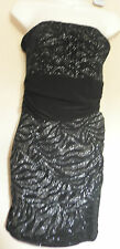 JANE NORMAN (UK14 / EU42) BLACK MESH STRAPLESS STRETCH DRESS WITH SILVER GLITTER