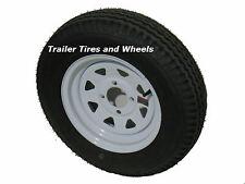 """*2* 5.30-12 LRC  Bias Trailer Tires on 12"""" 4 Lug White Trailer Wheels 5.30x12"""
