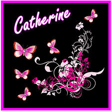 PINK / BLACK BUTTERFLY & FLOWERS CAR / WINDOW STICKER + 1 FREE - *PERSONALISED*