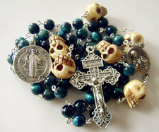Catholic Peacock Green Tiger Eye Beads Camel Bone Skull Rosary Crucifix Cross