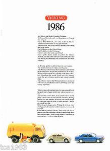 Vintage 1986 Wiking Pressofuso Catalogo/Brochure: Tedesco/Germania